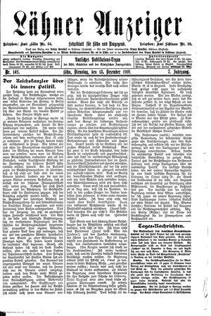 Lähner Anzeiger vom 13.12.1910