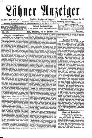 Lähner Anzeiger vom 17.12.1910