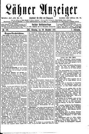 Lähner Anzeiger vom 20.12.1910