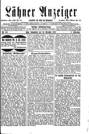 Lähner Anzeiger vom 24.12.1910