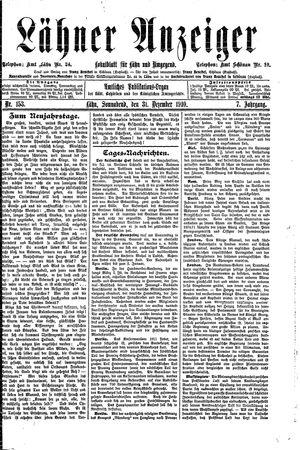 Lähner Anzeiger vom 31.12.1910