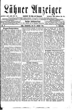 Lähner Anzeiger vom 22.01.1911