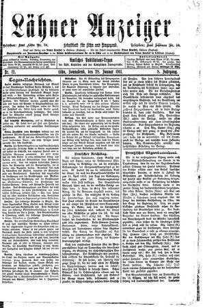 Lähner Anzeiger vom 28.01.1911