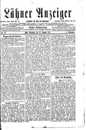 Lähner Anzeiger vom 31.01.1911