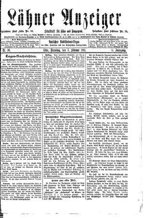 Lähner Anzeiger vom 07.02.1911