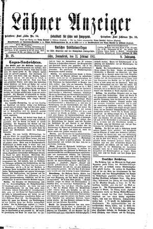 Lähner Anzeiger vom 11.02.1911