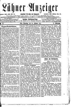 Lähner Anzeiger vom 14.02.1911