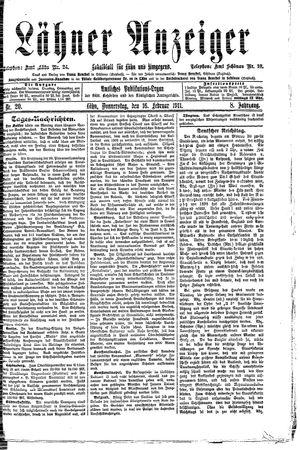 Lähner Anzeiger on Feb 16, 1911
