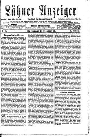 Lähner Anzeiger vom 18.02.1911