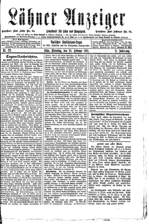 Lähner Anzeiger vom 21.02.1911