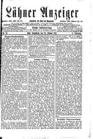 Lähner Anzeiger vom 25.02.1911