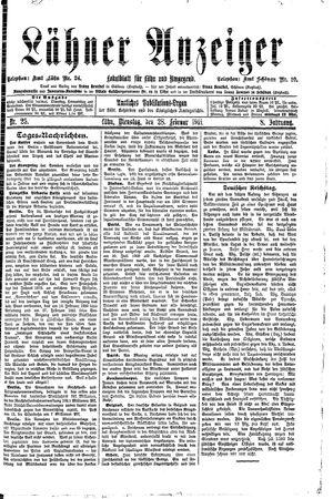 Lähner Anzeiger vom 28.02.1911