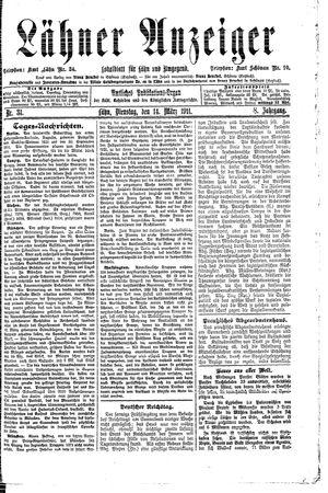 Lähner Anzeiger vom 14.03.1911