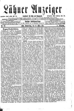 Lähner Anzeiger vom 16.03.1911