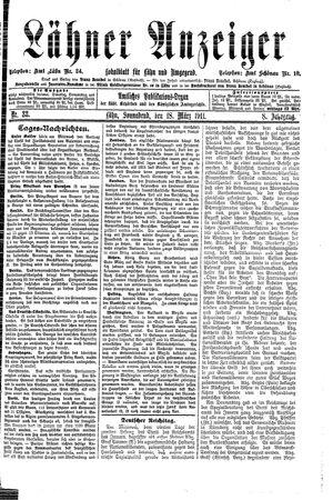 Lähner Anzeiger vom 18.03.1911
