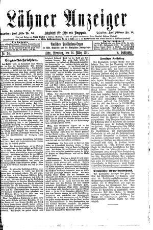 Lähner Anzeiger vom 21.03.1911