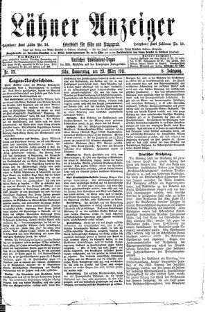 Lähner Anzeiger vom 23.03.1911