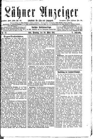 Lähner Anzeiger vom 28.03.1911