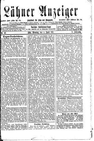 Lähner Anzeiger vom 04.04.1911