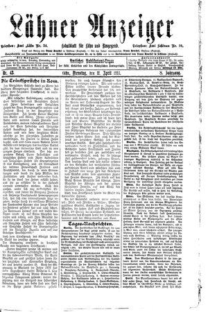 Lähner Anzeiger vom 11.04.1911