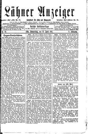Lähner Anzeiger vom 13.04.1911