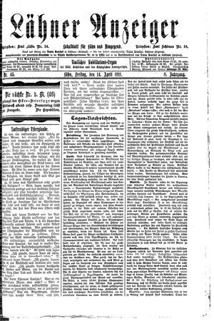 Lähner Anzeiger vom 14.04.1911