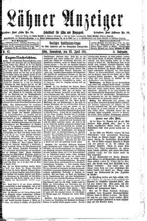 Lähner Anzeiger vom 22.04.1911