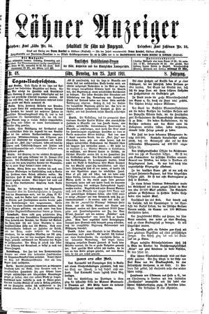 Lähner Anzeiger vom 25.04.1911