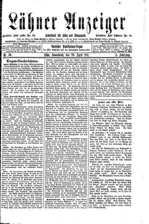 Lähner Anzeiger vom 29.04.1911