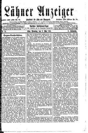 Lähner Anzeiger vom 02.05.1911