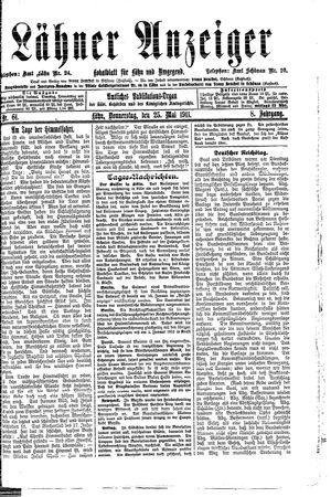 Lähner Anzeiger vom 25.05.1911