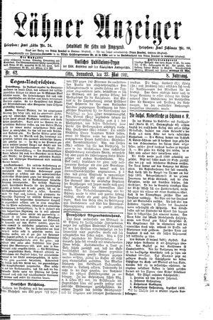 Lähner Anzeiger vom 27.05.1911