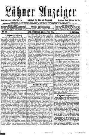 Lähner Anzeiger vom 01.06.1911