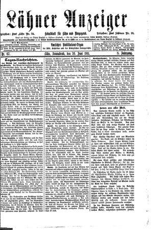 Lähner Anzeiger vom 10.06.1911