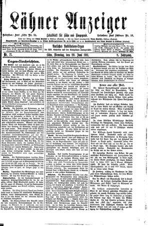 Lähner Anzeiger vom 20.06.1911