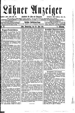 Lähner Anzeiger vom 22.06.1911