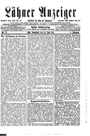 Lähner Anzeiger vom 24.06.1911