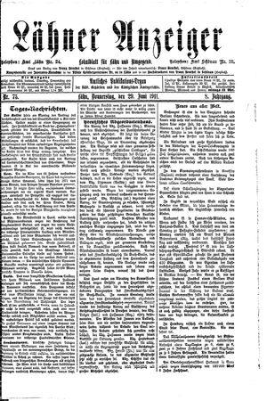 Lähner Anzeiger vom 29.06.1911