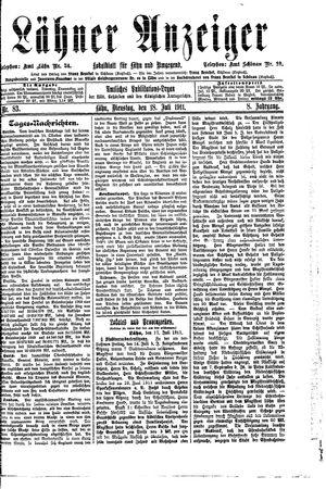 Lähner Anzeiger vom 18.07.1911