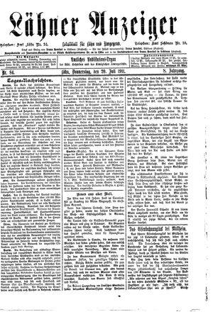 Lähner Anzeiger vom 20.07.1911