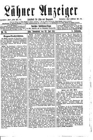 Lähner Anzeiger vom 22.07.1911
