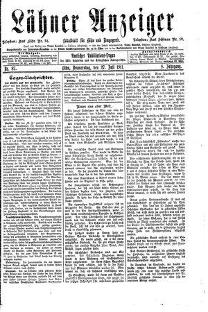 Lähner Anzeiger vom 27.07.1911