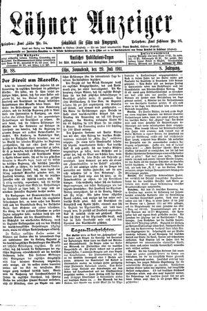 Lähner Anzeiger vom 29.07.1911