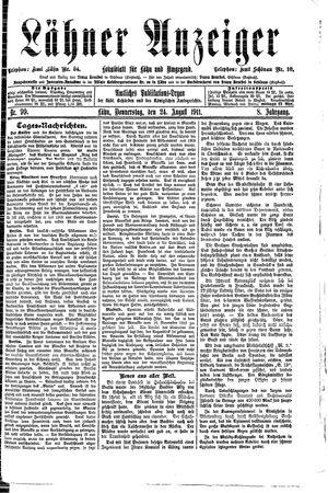 Lähner Anzeiger vom 24.08.1911