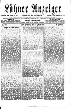 Lähner Anzeiger vom 31.08.1911