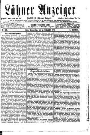 Lähner Anzeiger vom 07.09.1911