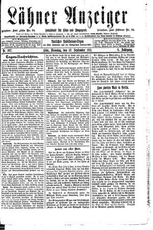 Lähner Anzeiger vom 12.09.1911