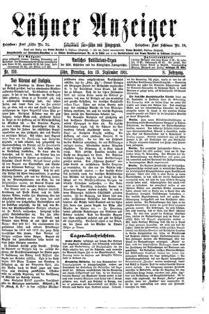 Lähner Anzeiger vom 19.09.1911