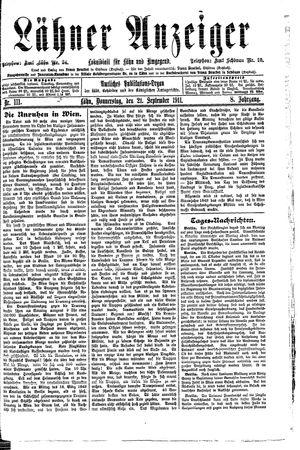Lähner Anzeiger vom 21.09.1911