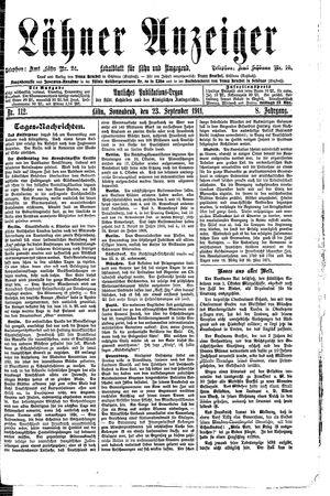 Lähner Anzeiger vom 23.09.1911